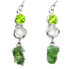 14.68cts natural green moldavite (genuine czech) 925 silver earrings p95022
