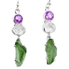 15.65cts natural green moldavite (genuine czech) 925 silver earrings p95023