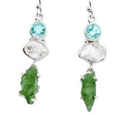 925 silver 15.65cts natural green moldavite (genuine czech) earrings p95024