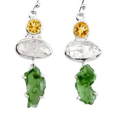18.15cts natural green moldavite (genuine czech) 925 silver earrings p95025