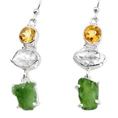 15.65cts natural green moldavite (genuine czech) 925 silver earrings p95026
