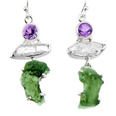 19.10cts natural green moldavite (genuine czech) 925 silver earrings p95027