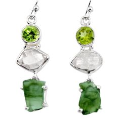 16.23cts natural green moldavite (genuine czech) 925 silver earrings p95028
