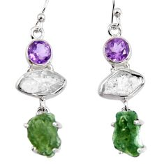 925 silver 14.72cts natural green moldavite (genuine czech) earrings p95030