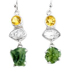 16.20cts natural green moldavite (genuine czech) 925 silver earrings p95031