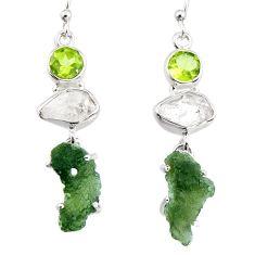 16.73cts natural green moldavite (genuine czech) 925 silver earrings p95032