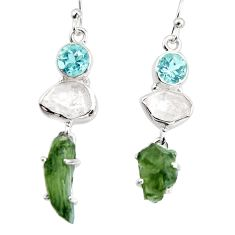 16.18cts natural green moldavite (genuine czech) 925 silver earrings p95033