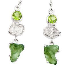 15.65cts natural green moldavite (genuine czech) 925 silver earrings p95034