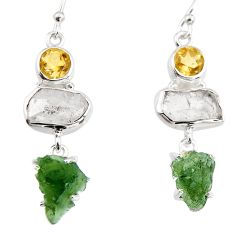 16.73cts natural green moldavite (genuine czech) 925 silver earrings p95035