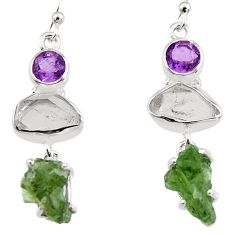 925 silver 15.65cts natural green moldavite (genuine czech) earrings p95036