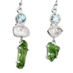 16.23cts natural green moldavite (genuine czech) 925 silver earrings p95039