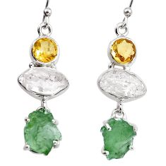 925 silver 15.08cts natural green moldavite (genuine czech) earrings p95040