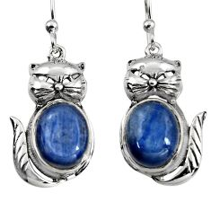 925 sterling silver 8.42cts natural blue kyanite cat earrings jewelry p95060