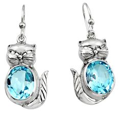 8.44cts natural blue topaz 925 sterling silver cat earrings jewelry p95065