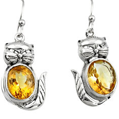 8.44cts natural yellow citrine 925 sterling silver cat earrings jewelry p95076