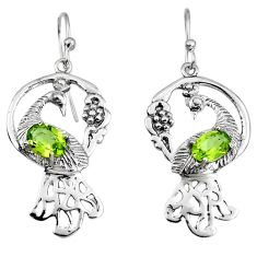 3.28cts peacock natural green peridot 925 sterling silver dangle earrings p95087