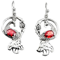 925 sterling silver 3.40cts peacock natural red garnet dangle earrings p95096