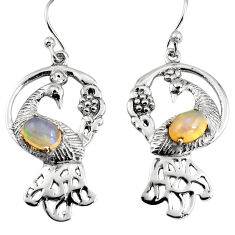 3.25cts peacock natural multicolor ethiopian opal 925 silver earrings p95115