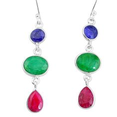 12.35cts natural green emerald sapphire ruby 925 silver dangle earrings p9583