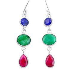 925 silver 12.99cts natural green emerald sapphire ruby dangle earrings p9599