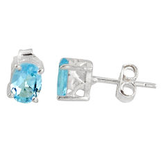 925 sterling silver 3.04cts natural blue topaz stud earrings jewelry p96928