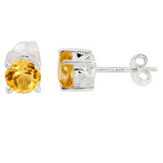 2.46cts natural yellow citrine 925 sterling silver stud earrings jewelry p96946
