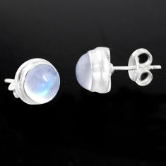 6.61cts natural rainbow moonstone 925 sterling silver stud earrings p96991