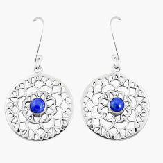 1.00cts natural blue lapis lazuli 925 sterling silver dangle earrings p9875
