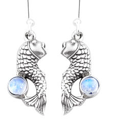 1.11cts natural rainbow moonstone 925 sterling silver fish earrings p9881