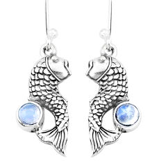 1.09cts natural rainbow moonstone 925 sterling silver fish earrings p9882