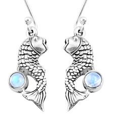925 sterling silver 1.11cts natural rainbow moonstone fish earrings p9884