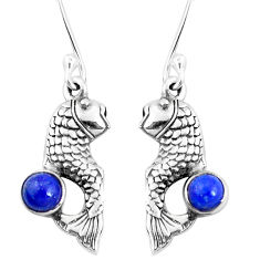 1.04cts natural blue lapis lazuli 925 sterling silver fish earrings p9885