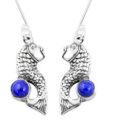 925 sterling silver 1.03cts natural blue lapis lazuli fish earrings p9887