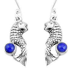925 sterling silver 0.98cts natural blue lapis lazuli fish earrings p9890