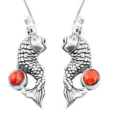 1.11cts red copper turquoise 925 sterling silver fish earrings jewelry p9894