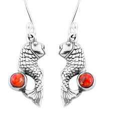 1.04cts red copper turquoise 925 sterling silver fish earrings jewelry p9895