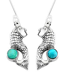 1.04cts green arizona mohave turquoise 925 sterling silver fish earrings p9897
