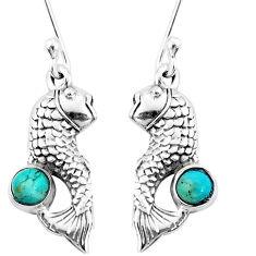 925 sterling silver 1.04cts green arizona mohave turquoise fish earrings p9900