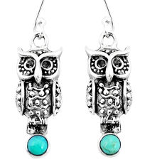 1.26cts green arizona mohave turquoise 925 sterling silver owl earrings p9901