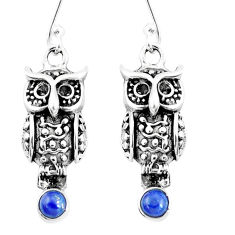 1.22cts natural blue lapis lazuli 925 sterling silver owl earrings jewelry p9912