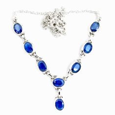925 sterling silver 17.38cts natural blue sapphire oval necklace jewelry p14004