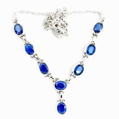 17.38cts natural blue sapphire 925 sterling silver necklace jewelry p14010