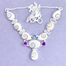 925 silver 31.84cts natural white shiva eye amethyst necklace jewelry p19284