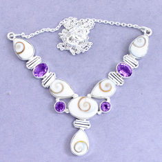 30.40cts natural white shiva eye amethyst 925 silver necklace jewelry p19285