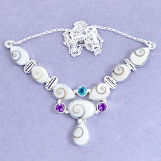 30.41cts natural white shiva eye amethyst 925 sterling silver necklace p19287
