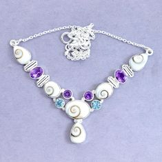 30.41cts natural white shiva eye amethyst 925 sterling silver necklace p19289