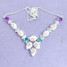 40.73cts natural white shiva eye amethyst 925 sterling silver necklace p19290