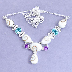925 sterling silver 26.37cts natural white shiva eye amethyst necklace p19292