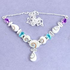 12.52cts natural white shiva eye amethyst 925 sterling silver necklace p19293