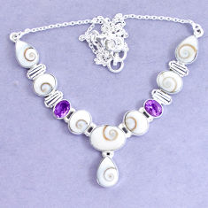 30.63cts natural white shiva eye amethyst 925 sterling silver necklace p19294